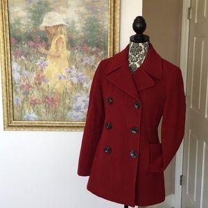 Calvin Klein Women's Red Wool Blend Pea Coat